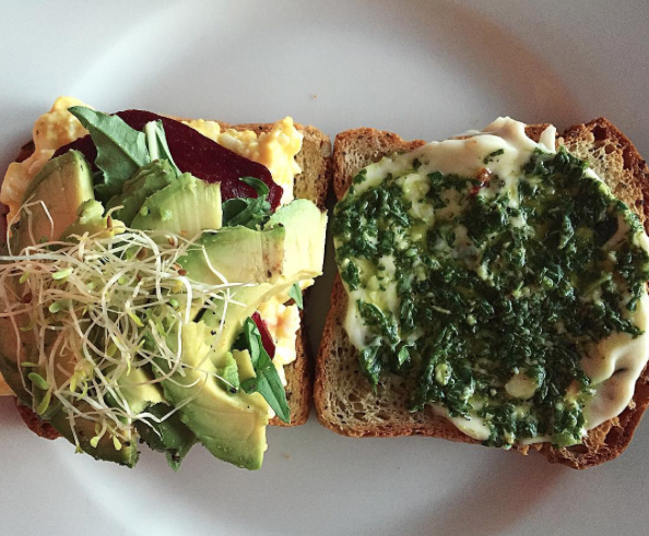 Open faced vegetarian sandwich