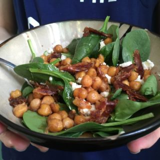 Candy Date Salad with Chickpeas, Goat Cheese, and Spinach