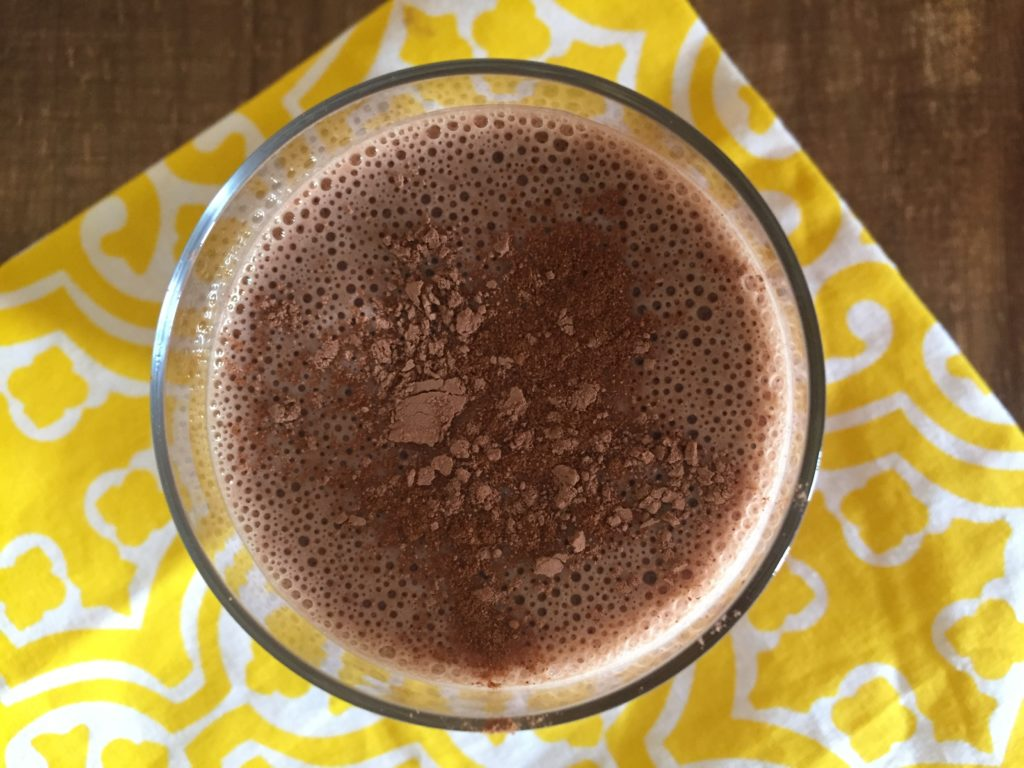 aerial view of a tasty banana cacao smoothie