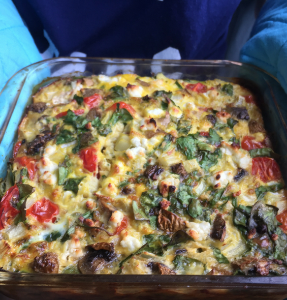 Pescatarian diet breakfast example: veggie medley low carb breakfast quiche